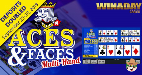 Double Your Deposits on Win A Day's Latest Aces & Faces Multi-Hand Poker Game