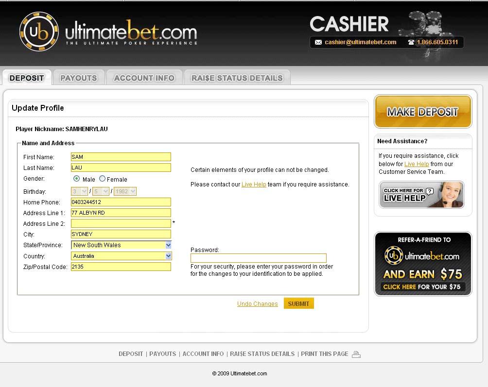 UltimateBet Cashier