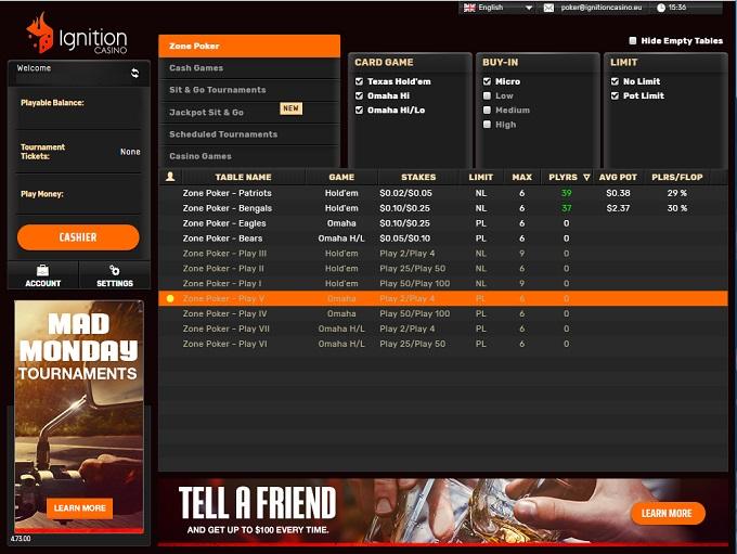 Ignition Poker Lobby