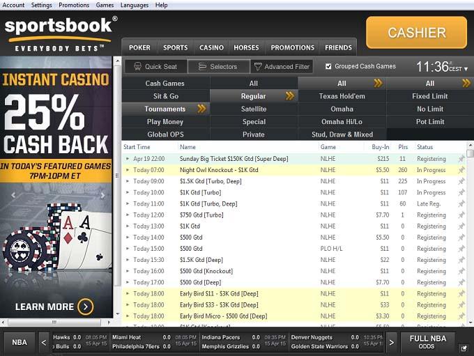 Sportsbook Poker Lobby
