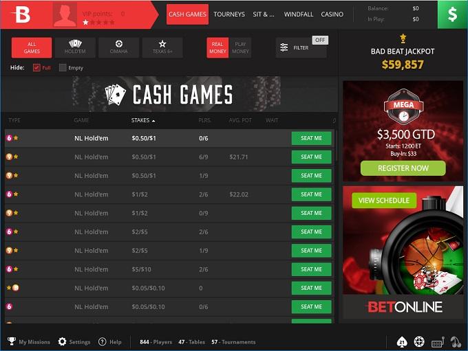 BetOnline Poker Lobby