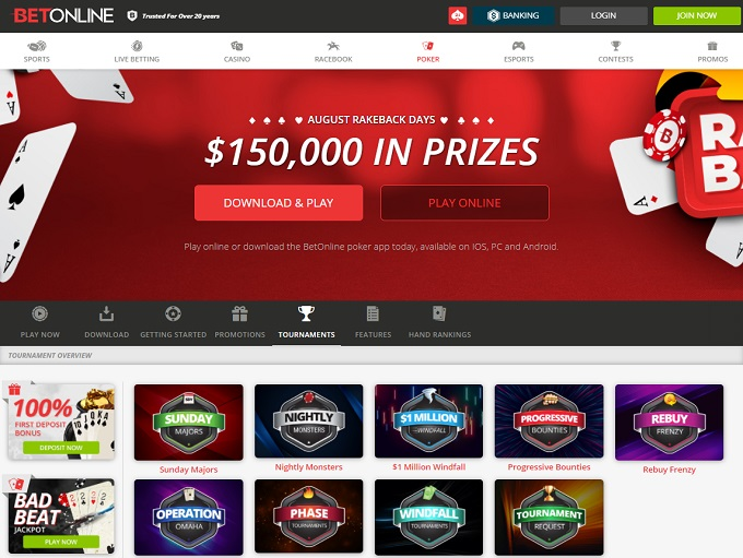 BetOnline Poker Home Page